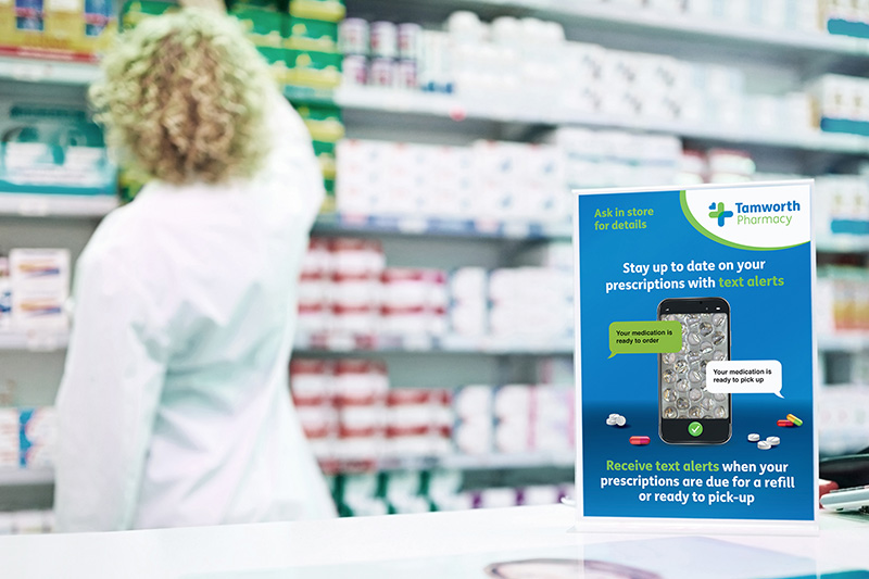 pharmacy counter display signage poster chemist
