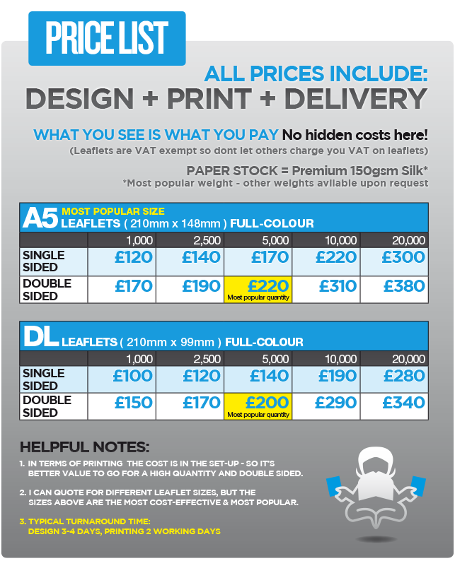 cheap leaflet printing a5 price list