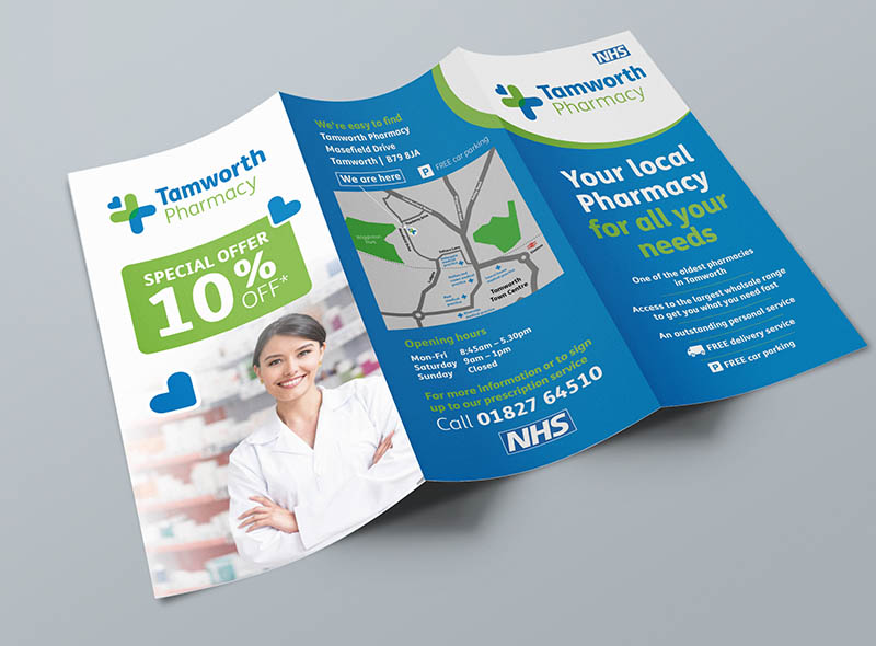 Pharmacy leaflet design health NHS flyer printing